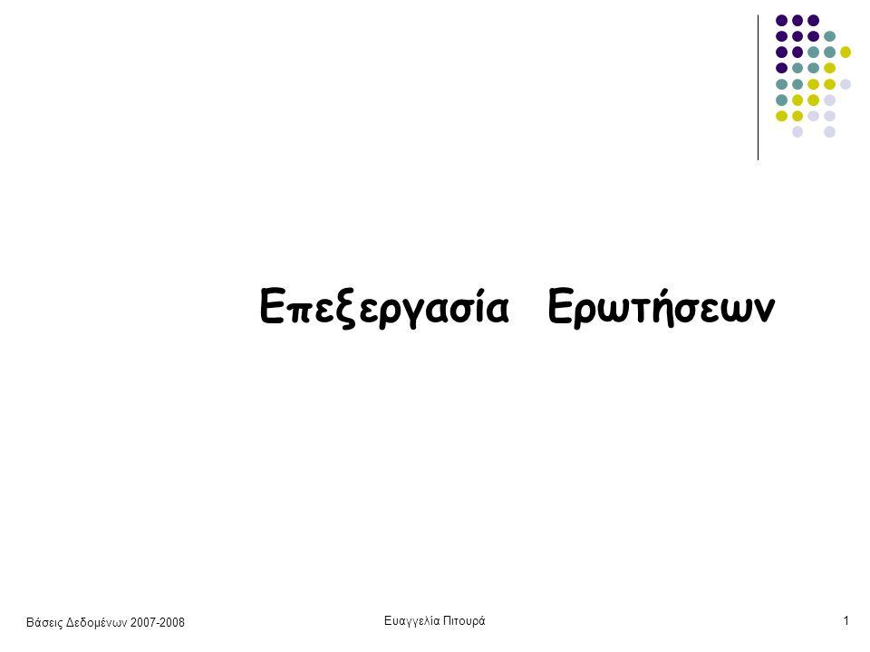 Βάσεις Δεδομένων 2007-2008 Ευαγγελία Πιτουρά32 Επιλογή: Συνθήκη με Σύγκριση Ε5 Χρήση πρωτεύοντος (πολυεπίπεδου) ευρετηρίου Α  u 1.