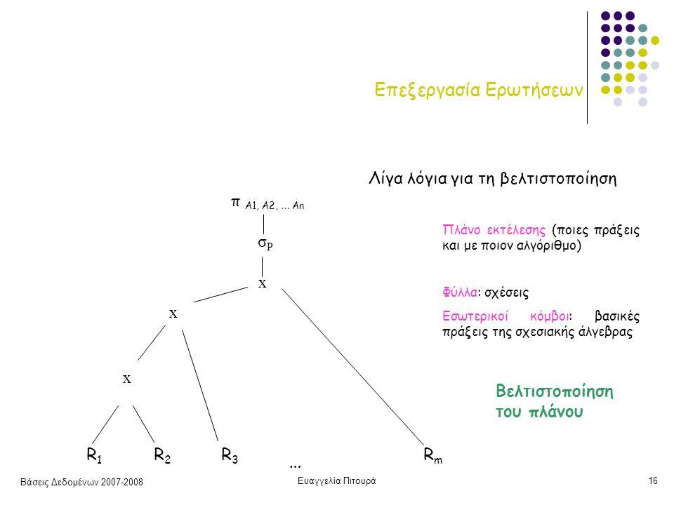 Βάσεις Δεδομένων 2007-2008 Ευαγγελία Πιτουρά16 Επεξεργασία Ερωτήσεων R1 R2R3…RmR1 R2R3…Rm Πλάνο εκτέλεσης (ποιες πράξεις και με ποιον αλγόριθμο) Φύλλα: σχέσεις Εσωτερικοί κόμβοι: βασικές πράξεις της σχεσιακής άλγεβρας x x x σPσP π Α1, Α2,...