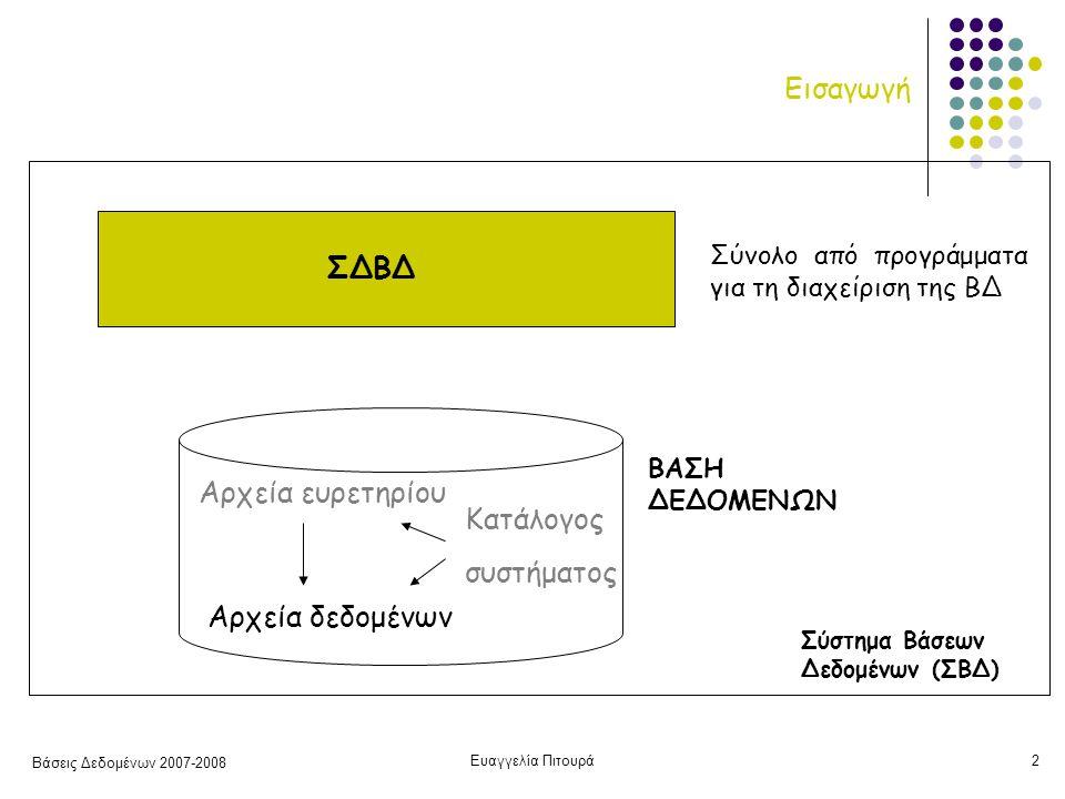 Βάσεις Δεδομένων 2007-2008 Ευαγγελία Πιτουρά2 Εισαγωγή ΒΑΣΗ ΔΕΔΟΜΕΝΩΝ Αρχεία δεδομένων Αρχεία ευρετηρίου Κατάλογος συστήματος ΣΔΒΔ Σύνολο από προγράμματα για τη διαχείριση της ΒΔ Σύστημα Βάσεων Δεδομένων (ΣΒΔ)