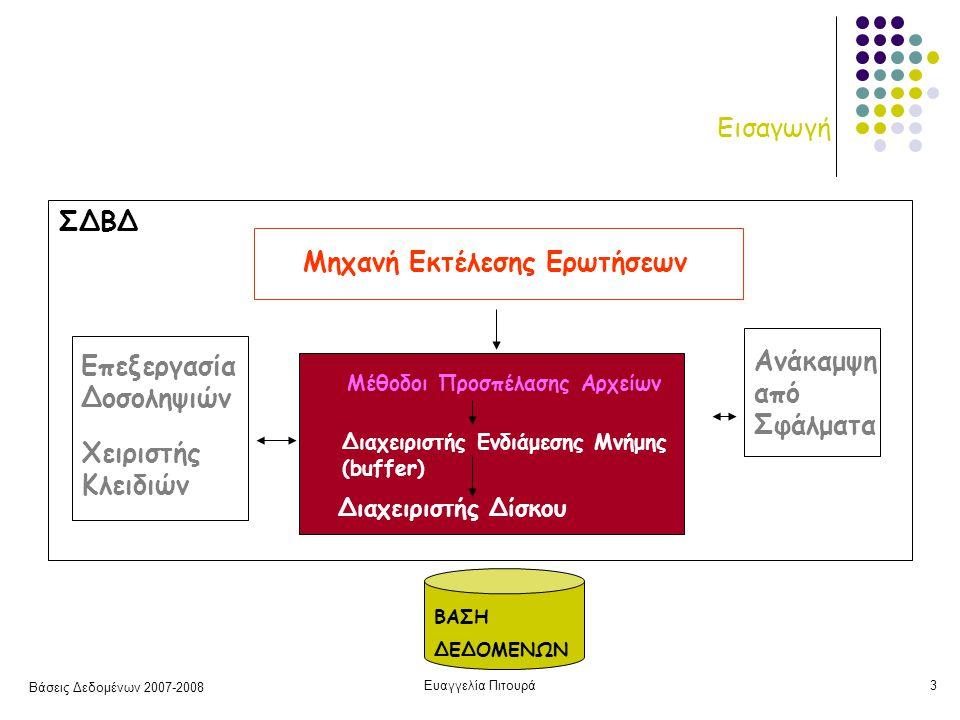 Βάσεις Δεδομένων 2007-2008 Ευαγγελία Πιτουρά3 Εισαγωγή ΒΑΣΗ ΔΕΔΟΜΕΝΩΝ ΣΔΒΔ Μέθοδοι Προσπέλασης Αρχείων Διαχειριστής Δίσκου Διαχειριστής Ενδιάμεσης Μνήμης (buffer) Επεξεργασία Δοσοληψιών Χειριστής Κλειδιών Ανάκαμψη από Σφάλματα Μηχανή Εκτέλεσης Ερωτήσεων