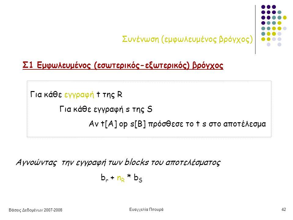 Βάσεις Δεδομένων 2007-2008 Ευαγγελία Πιτουρά42 Συνένωση (εμφωλευμένος βρόγχος) Σ1 Εμφωλευμένος (εσωτερικός-εξωτερικός) βρόγχος Για κάθε εγγραφή t της R Για κάθε εγγραφή s της S Αν t[A] op s[B] πρόσθεσε το t s στο αποτέλεσμα b r + n R * b S Αγνοώντας την εγγραφή των blocks του αποτελέσματος