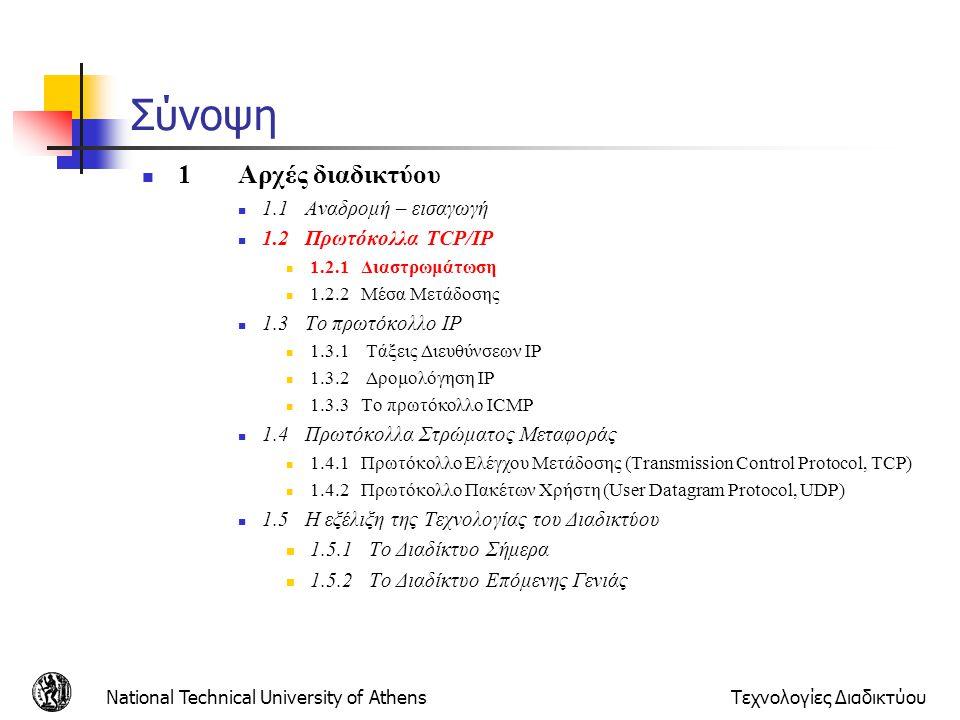National Technical University of AthensΤεχνολογίες Διαδικτύου Στρώματα και πρωτόκολλα Τα δίκτυα είναι περίπλοκα Πολλά διαφορετικά «κομμάτια» Τερματικά Δρομολογητές Ζεύξεις Εφαρμογές Πρωτόκολλα Hardware, software Μια συγκεκριμένη δομή επιτρέπει την αναγνώριση και τη συσχέτιση των «κομματιών» Η διαστρωμάτωση διευκολύνει τη συντήρηση, εκσυγχρονισμό του συστήματος Αλλαγή στην υλοποίηση ενός στρώματος γίνεται με διαφανή τρόπο προς τα άλλα στρώματα
