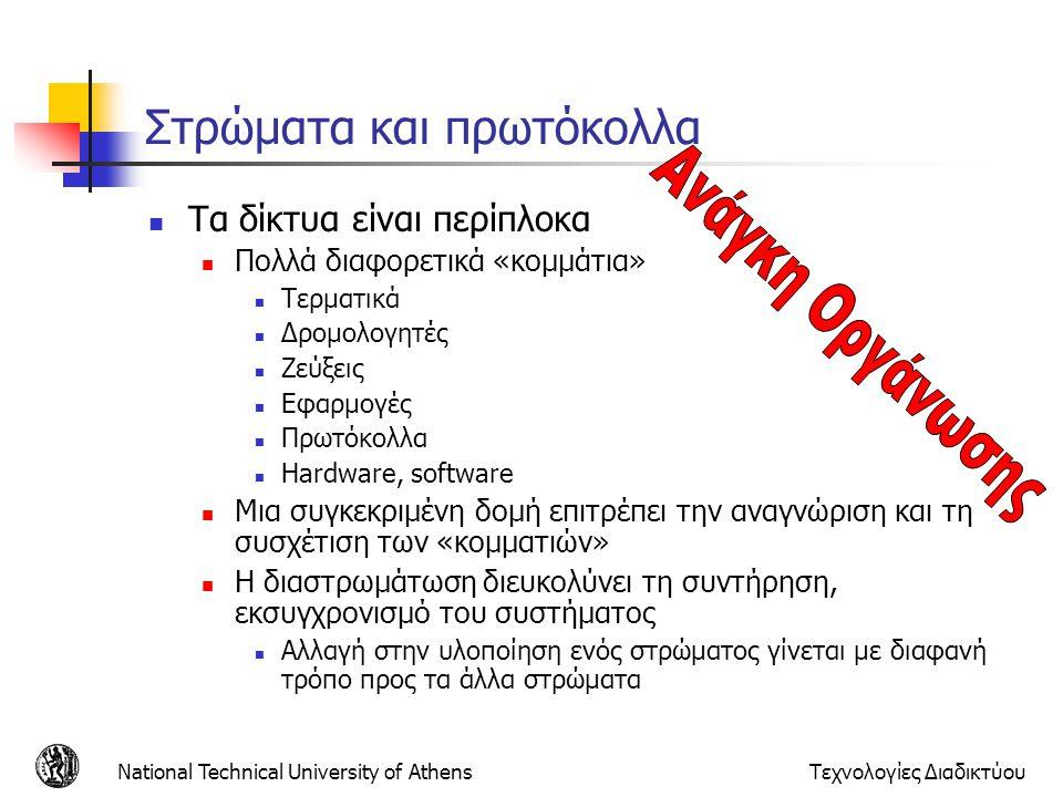 National Technical University of AthensΤεχνολογίες Διαδικτύου Στρώματα και πρωτόκολλα Τα δίκτυα είναι περίπλοκα Πολλά διαφορετικά «κομμάτια» Τερματικά
