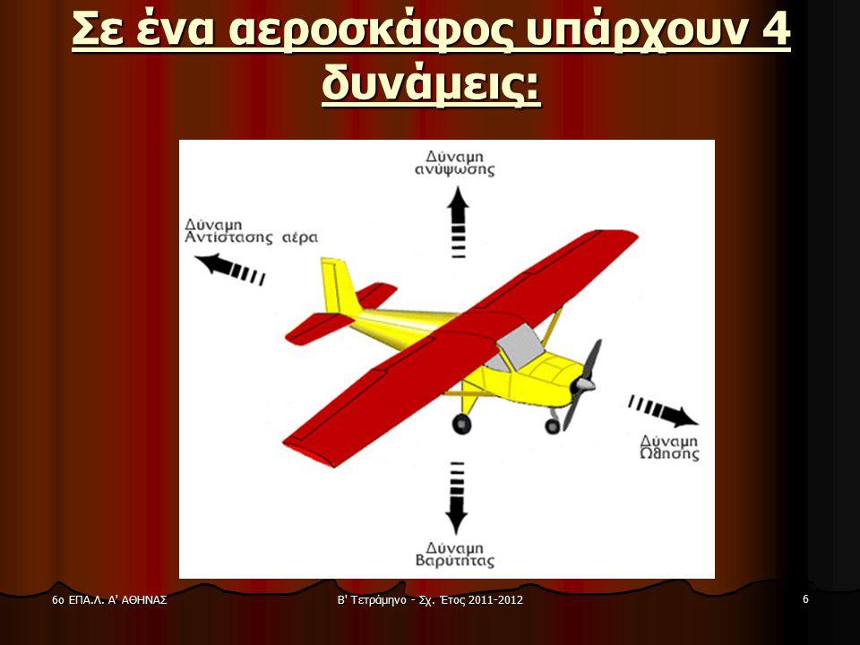 Β' Τετράμηνο - Σχ. Έτος 2011-2012 6 6ο ΕΠΑ.Λ. Α' ΑΘΗΝΑΣ Σε ένα αεροσκάφος υπάρχουν 4 δυνάμεις: