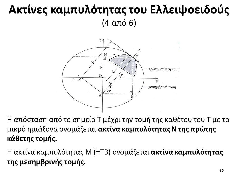 Ακτίνες καμπυλότητας του Ελλειψοειδούς (4 από 6) Η απόσταση από το σημείο Τ μέχρι την τομή της καθέτου του Τ με το μικρό ημιάξονα ονομάζεται ακτίνα καμπυλότητας Ν της πρώτης κάθετης τομής.