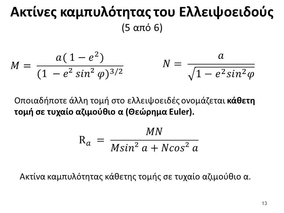 Ακτίνες καμπυλότητας του Ελλειψοειδούς (5 από 6) Οποιαδήποτε άλλη τομή στο ελλειψοειδές ονομάζεται κάθετη τομή σε τυχαίο αζιμούθιο α (Θεώρημα Euler).