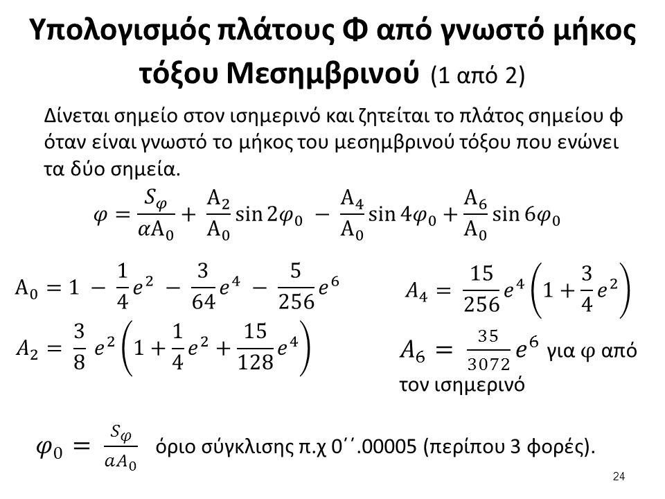 Υπολογισμός πλάτους Φ από γνωστό μήκος τόξου Μεσημβρινού (1 από 2) Δίνεται σημείο στον ισημερινό και ζητείται το πλάτος σημείου φ όταν είναι γνωστό το μήκος του μεσημβρινού τόξου που ενώνει τα δύο σημεία.