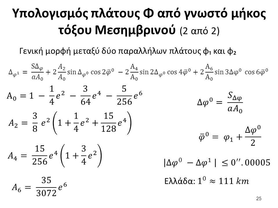 Υπολογισμός πλάτους Φ από γνωστό μήκος τόξου Μεσημβρινού (2 από 2) Γενική μορφή μεταξύ δύο παραλλήλων πλάτους φ₁ και φ₂ 25