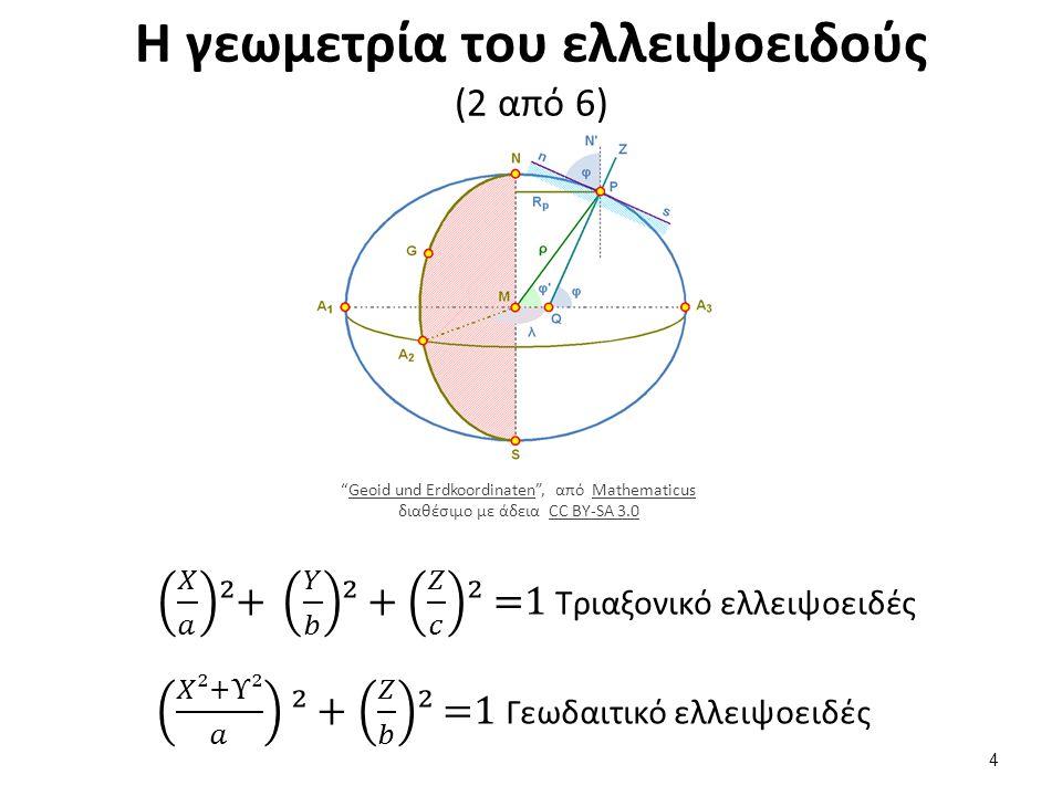Η γεωμετρία του ελλειψοειδούς (2 από 6) Geoid und Erdkoordinaten , από Mathematicus διαθέσιμο με άδεια CC BY-SA 3.0Geoid und ErdkoordinatenMathematicusCC BY-SA 3.0 4