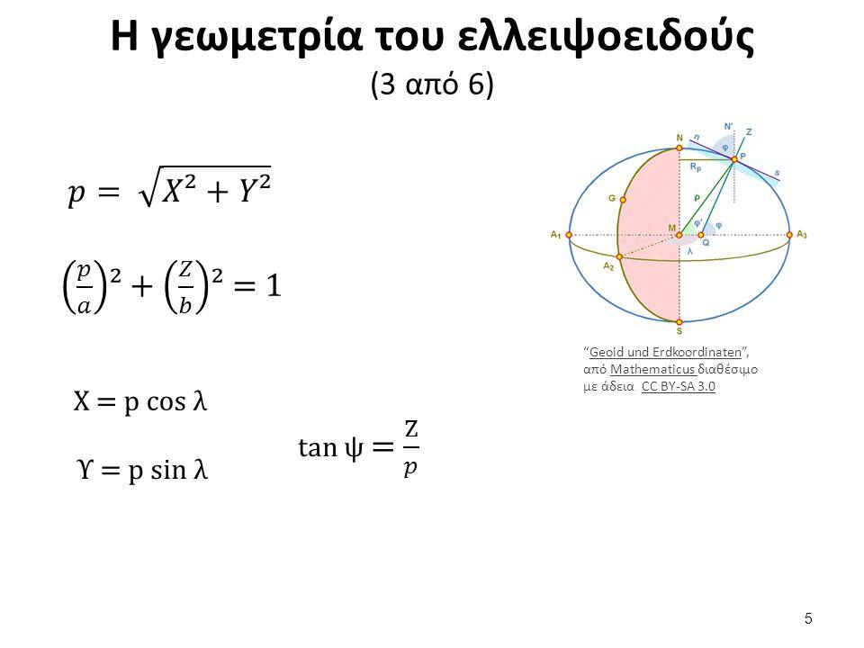 Η γεωμετρία του ελλειψοειδούς (3 από 6) Geoid und Erdkoordinaten , από Mathematicus διαθέσιμο με άδεια CC BY-SA 3.0Geoid und ErdkoordinatenMathematicus CC BY-SA 3.0 X = p cos λ Υ = p sin λ 5