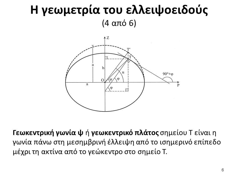 Η γεωμετρία του ελλειψοειδούς (4 από 6) Γεωκεντρική γωνία ψ ή γεωκεντρικό πλάτος σημείου Τ είναι η γωνία πάνω στη μεσημβρινή έλλειψη από το ισημερινό επίπεδο μέχρι τη ακτίνα από το γεώκεντρο στο σημείο Τ.