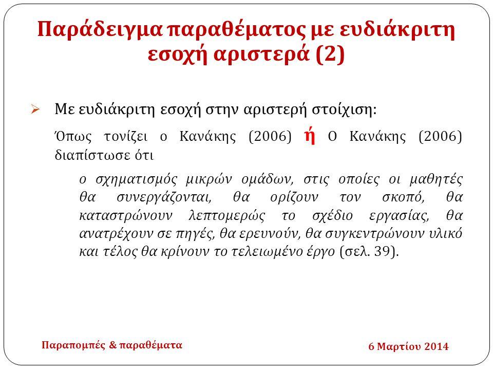 Παράδειγμα παραθέματος με ευδιάκριτη εσοχή αριστερά (2)  Με ευδιάκριτη εσοχή στην αριστερή στοίχιση: Όπως τονίζει ο Κανάκης (2006) ή Ο Κανάκης (2006)