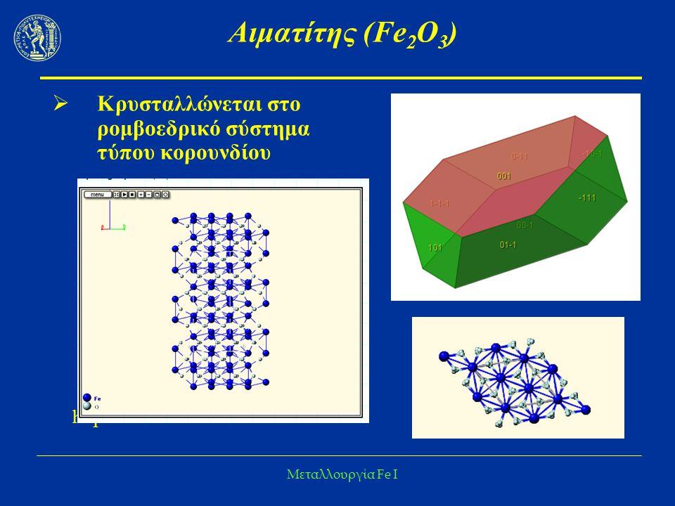 Μεταλλουργία Fe I Άλλα ορυκτά Fe  Γκαιτίτης (FeO.OH ή Fe 2 O 3.H 2 O)  Λειμωνίτης (Fe 2 O 3.3H 2 O ή Fe(OH) 3 )  Σιδερίτης (FeCO 3 ) 48,2 % Fe Συνήθως δεν είναι καθαρός  Ca, Mg, Mn Με πύρωση μετατρέπεται σε αιματίτη ή μαγνητίτη  Σιδηροπυρίτης (FeS 2 )
