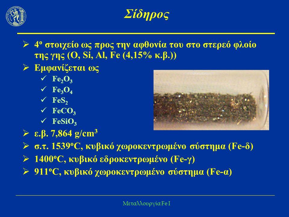 Μεταλλουργία Fe I Σίδηρος Fe-α, γ: Κυβικό χωροκεντρωμένο http://www.webmineral.com