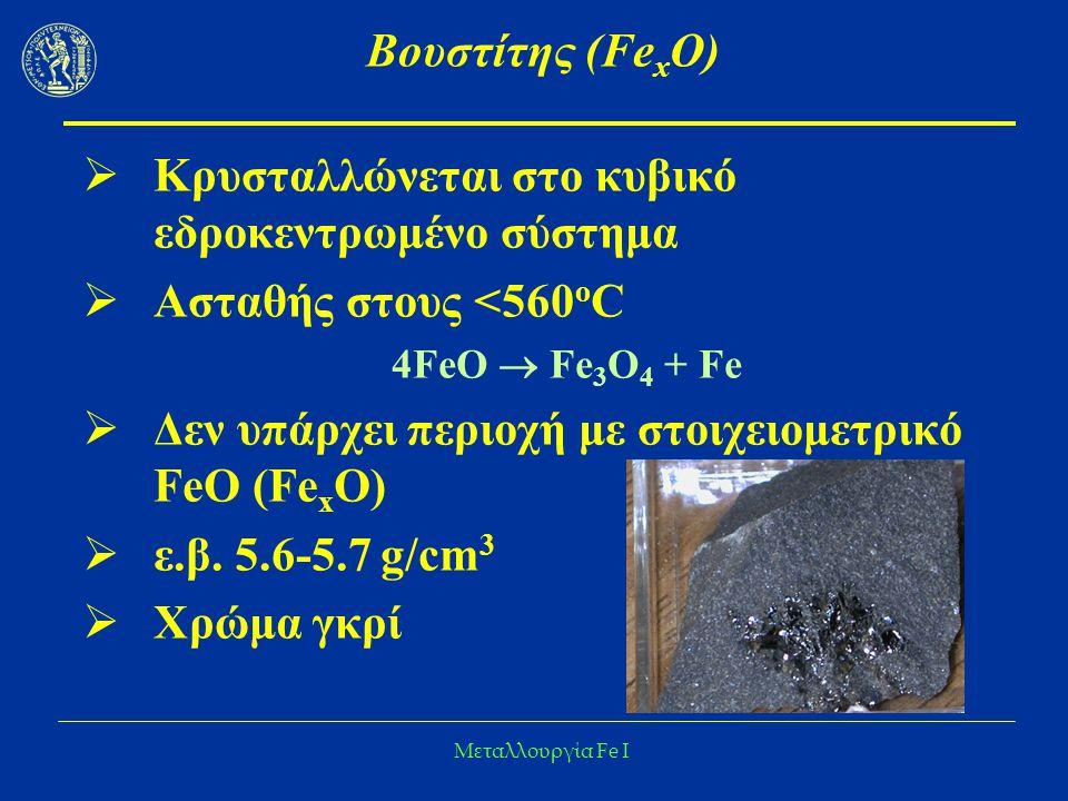 Μεταλλουργία Fe I Βουστίτης (Fe x O)  Κρυσταλλώνεται στο κυβικό εδροκεντρωμένο σύστημα  Ασταθής στους <560 ο C 4FeO  Fe 3 O 4 + Fe  Δεν υπάρχει πε