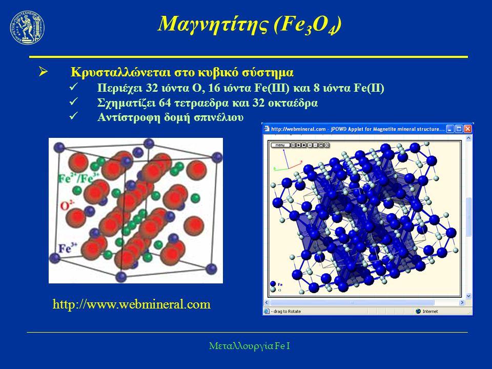 Μεταλλουργία Fe I Μαγνητίτης (Fe 3 O 4 )  Σπάνια βρίσκεται καθαρός στη φύση Ακαθαρσίες: Ti, Mg, Al, Ni, Cr, N, Mn  Μαγνητικές ιδιότητες Εντοπισμός Διαχωρισμός από στείρα  Στερεά διαλύματα με Ti (Ιλμενίτης FeTiO 3 )  Ο μαγνητίτης περιέχει σημαντικές ποσότητες οξειδίου του Cr