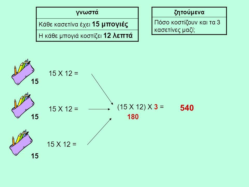 15 γνωστά Κάθε κασετίνα έχει 15 μπογιές Η κάθε μπογιά κοστίζει 12 λεπτά ζητούμενα Πόσο κοστίζουν και τα 3 κασετίνες μαζί; 15 Χ 12 = (15 Χ 12) Χ 3 = 180 540