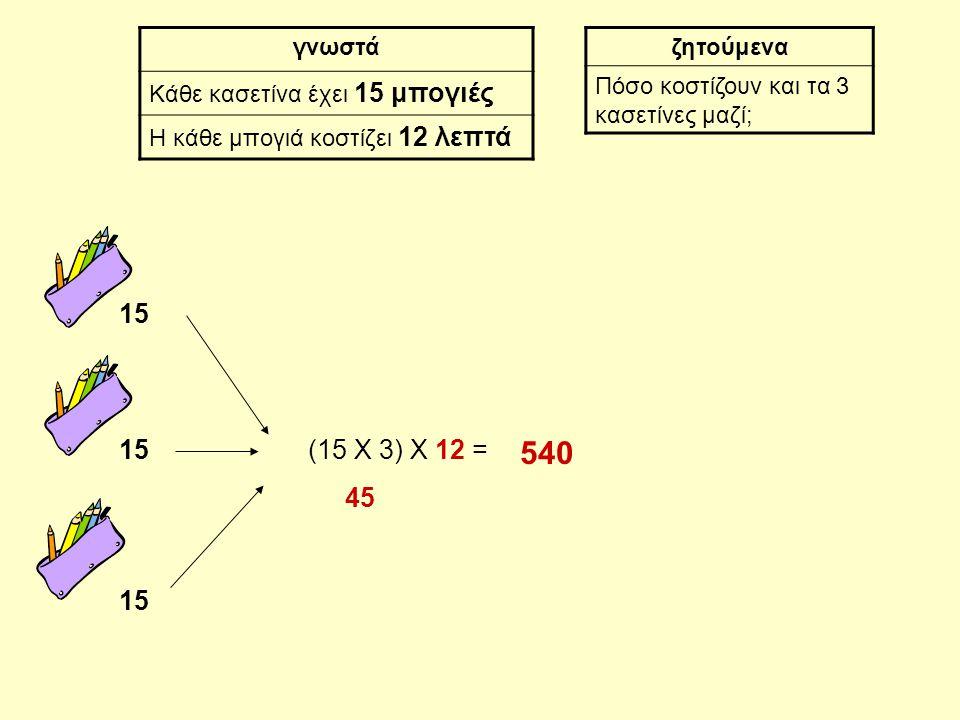 15 γνωστά Κάθε κασετίνα έχει 15 μπογιές Η κάθε μπογιά κοστίζει 12 λεπτά ζητούμενα Πόσο κοστίζουν και τα 3 κασετίνες μαζί; (15 Χ 3) Χ 12 = 45 540