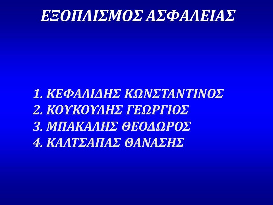 ΕΞΟΠΛΙΣΜΟΣ ΑΣΦΑΛΕΙΑΣ 1. ΚΕΦΑΛΙΔΗΣ ΚΩΝΣΤΑΝΤΙΝΟΣ 2. ΚΟΥΚΟΥΛΗΣ ΓΕΩΡΓΙΟΣ 3. ΜΠΑΚΑΛΗΣ ΘΕΟΔΩΡΟΣ 4. ΚΑΛΤΣΑΠΑΣ ΘΑΝΑΣΗΣ