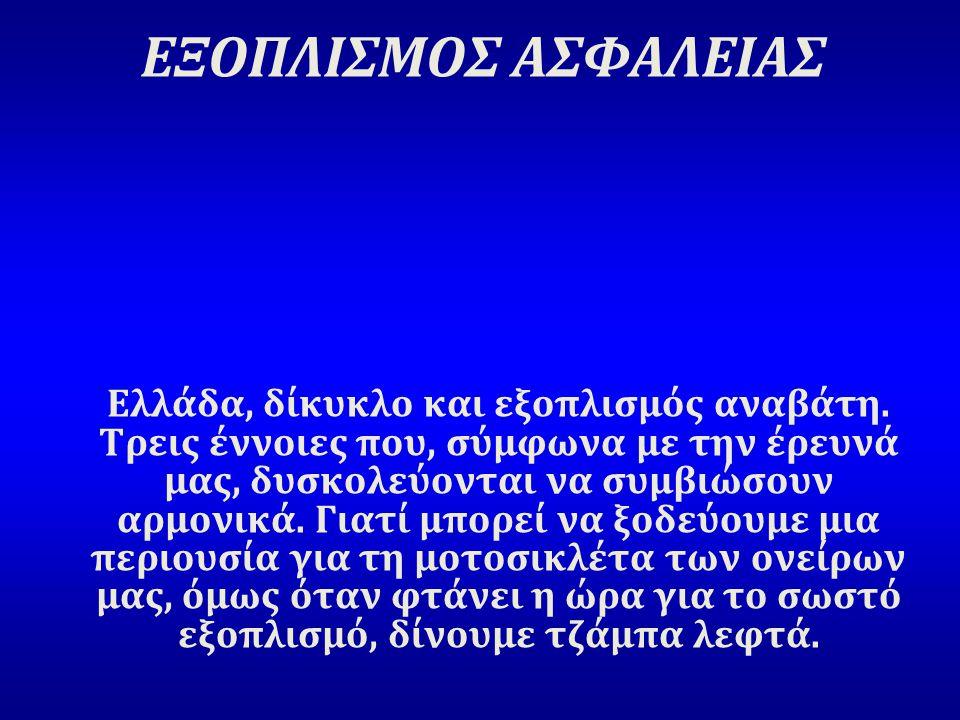 ΕΞΟΠΛΙΣΜΟΣ ΑΣΦΑΛΕΙΑΣ Ελλάδα, δίκυκλο και εξοπλισμός αναβάτη. Τρεις έννοιες που, σύμφωνα με την έρευνά μας, δυσκολεύονται να συμβιώσουν αρμονικά. Γιατί