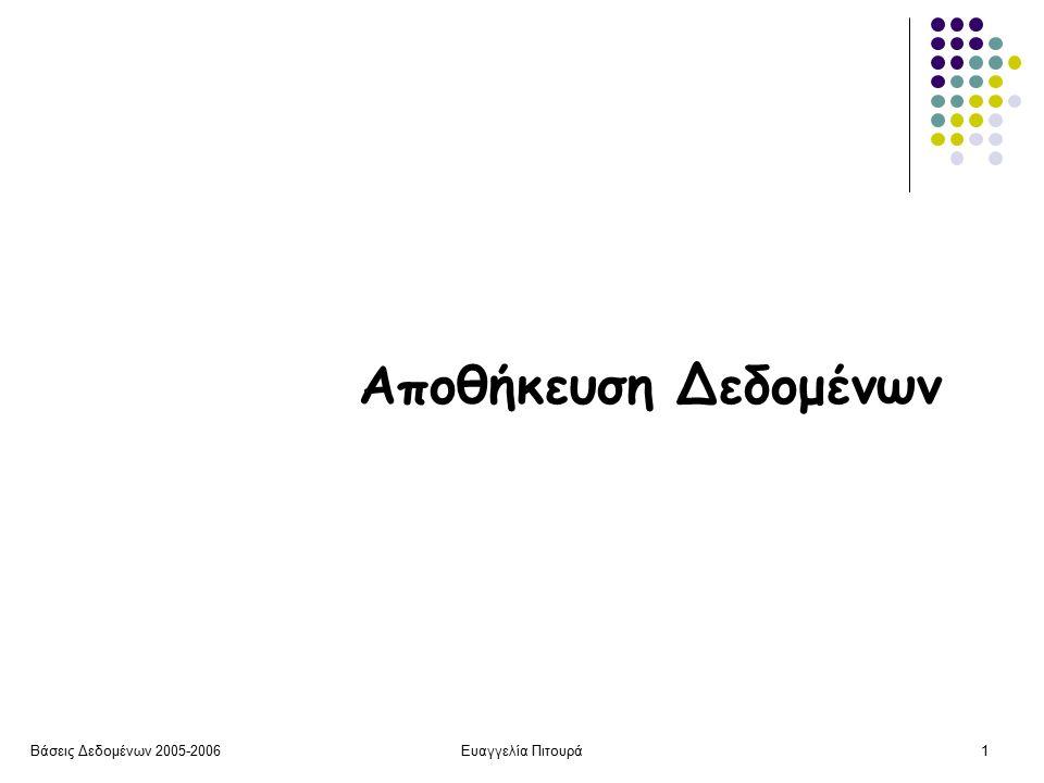 Βάσεις Δεδομένων 2005-2006Ευαγγελία Πιτουρά1 Αποθήκευση Δεδομένων
