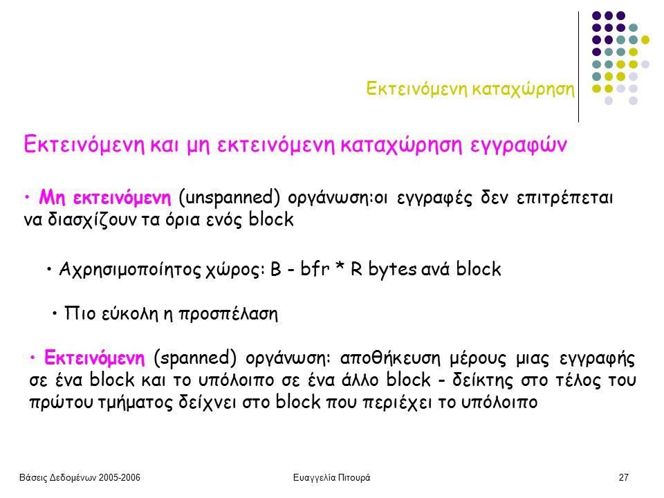 Βάσεις Δεδομένων 2005-2006Ευαγγελία Πιτουρά27 Εκτεινόμενη καταχώρηση Εκτεινόμενη και μη εκτεινόμενη καταχώρηση εγγραφών Εκτεινόμενη (spanned) οργάνωση: αποθήκευση μέρους μιας εγγραφής σε ένα block και το υπόλοιπο σε ένα άλλο block - δείκτης στο τέλος του πρώτου τμήματος δείχνει στο block που περιέχει το υπόλοιπο Αχρησιμοποίητος χώρος: Β - bfr * R bytes ανά block Μη εκτεινόμενη (unspanned) οργάνωση:οι εγγραφές δεν επιτρέπεται να διασχίζουν τα όρια ενός block Πιο εύκολη η προσπέλαση