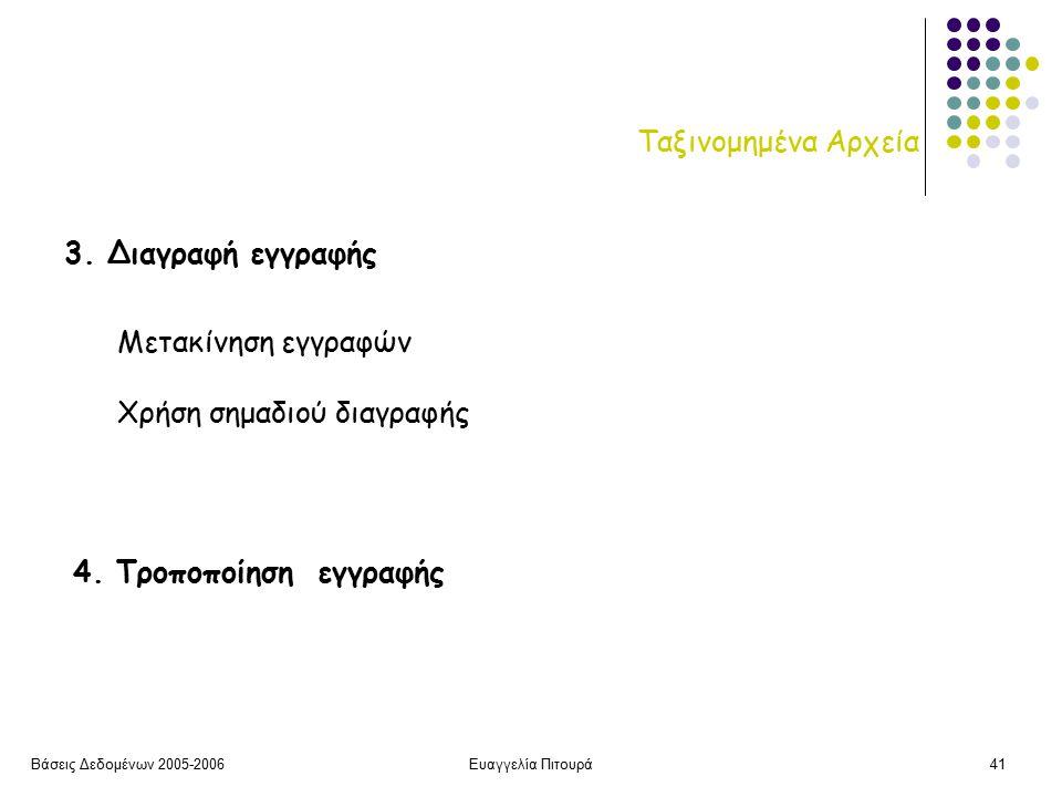 Βάσεις Δεδομένων 2005-2006Ευαγγελία Πιτουρά41 Ταξινομημένα Αρχεία 3.