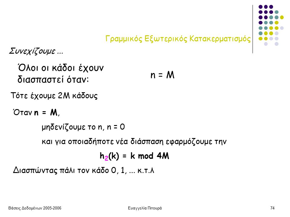 Βάσεις Δεδομένων 2005-2006Ευαγγελία Πιτουρά74 Γραμμικός Εξωτερικός Κατακερματισμός Όλοι οι κάδοι έχουν διασπαστεί όταν: n = M Τότε έχουμε 2M κάδους Όταν n = M, μηδενίζουμε το n, n = 0 και για οποιαδήποτε νέα διάσπαση εφαρμόζουμε την h 2 (k) = k mod 4M Διασπώντας πάλι τον κάδο 0, 1,...