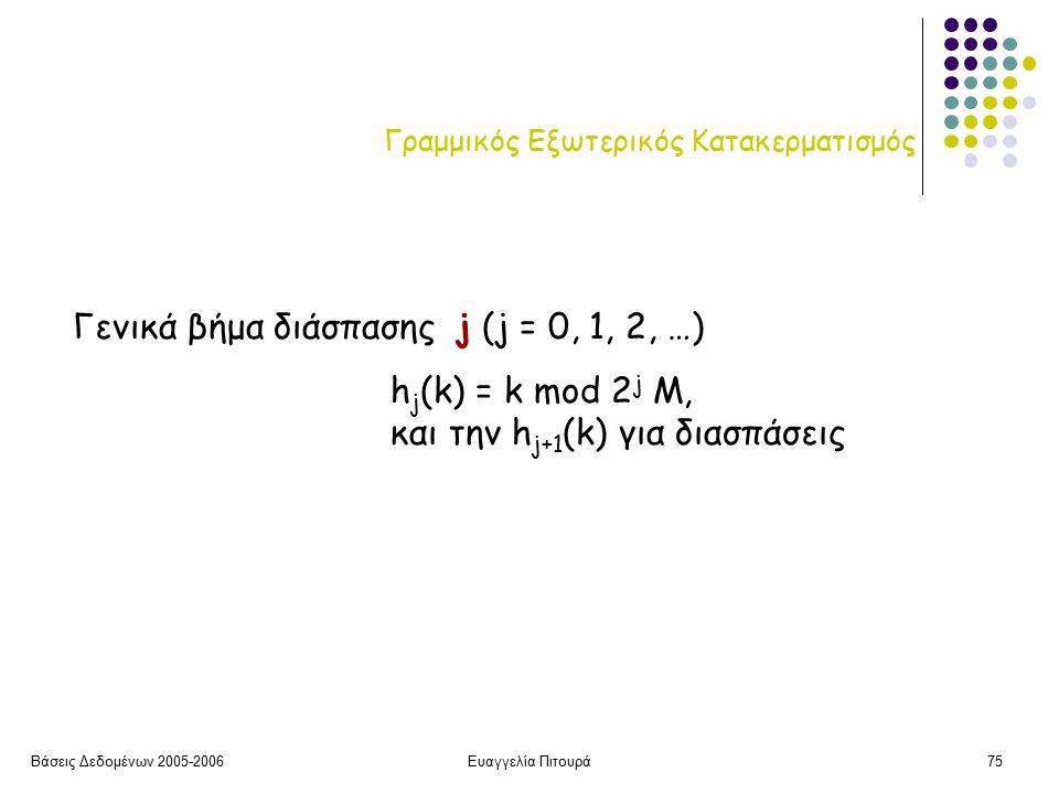 Βάσεις Δεδομένων 2005-2006Ευαγγελία Πιτουρά75 Γραμμικός Εξωτερικός Κατακερματισμός Γενικά βήμα διάσπασης j (j = 0, 1, 2, …) h j (k) = k mod 2 j M, και την h j+1 (k) για διασπάσεις