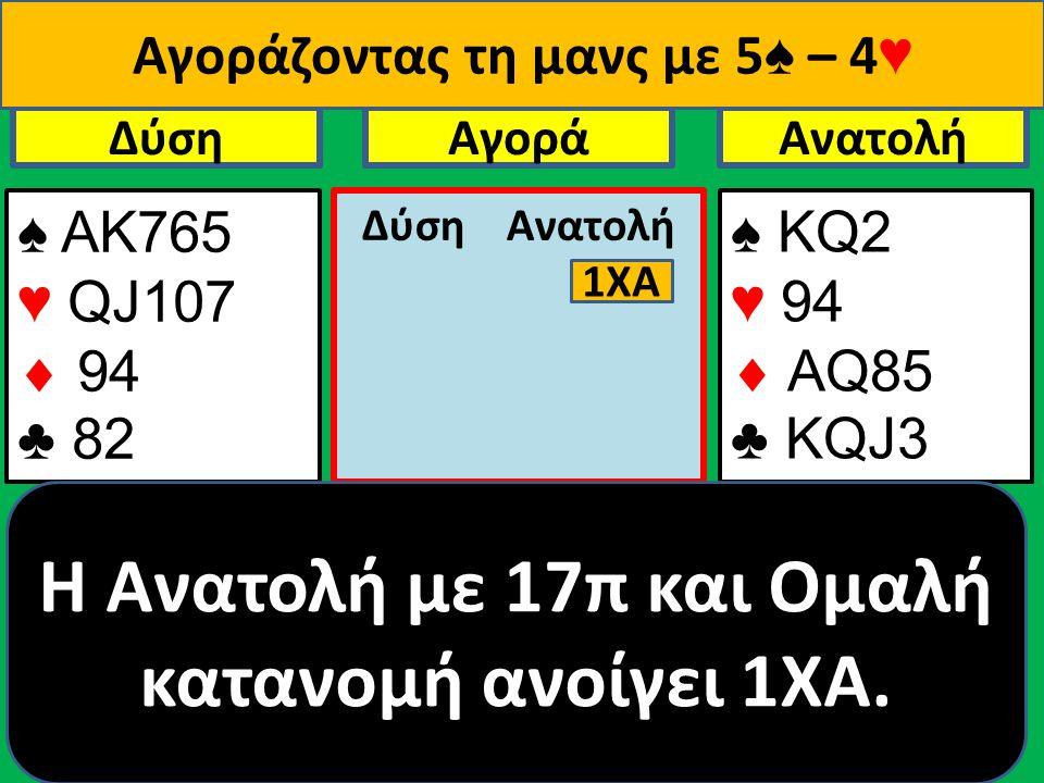 ♠ ΑΚ765 ♥ QJ107  94 ♣ 82 Δύση ♠ ΚQ2 ♥ 94  AQ85 ♣ KQJ3 ΑνατολήΑγορά Δύση Ανατολή Η Ανατολή με 17π και Ομαλή κατανομή ανοίγει 1ΧΑ.