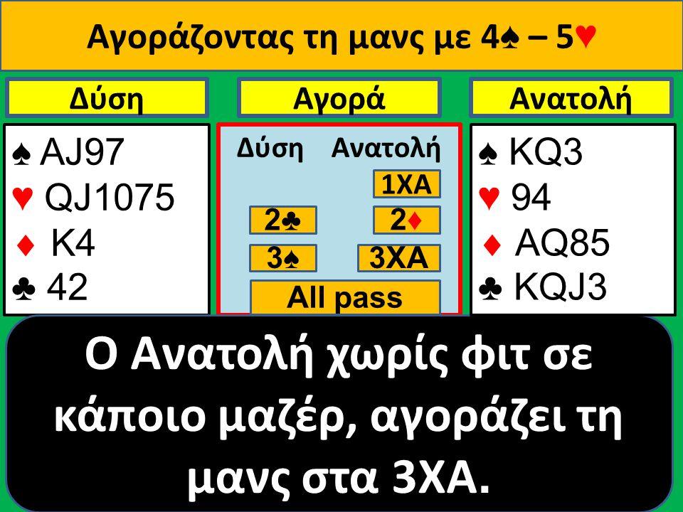 ♠ ΑJ97 ♥ QJ1075  Κ4 ♣ 42 ΔύσηΑνατολήΑγορά Δύση Ανατολή 1ΧΑ 2♣ 2♦2♦ 3♠ O Ανατολή χωρίς φιτ σε κάποιο μαζέρ, αγοράζει τη μανς στα 3ΧΑ.