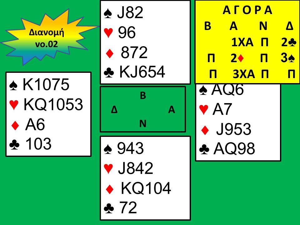 Β Δ Α Ν ♠ K1075 ♥ KQ1053  A6 ♣ 103 ♠ AQ6 ♥ A7  J953 ♣ AQ98 Διανομή νο.02 ♠ J82 ♥ 96  872 ♣ KJ654 ♠ 943 ♥ J842  KQ104 ♣ 72 Α Γ Ο Ρ Α B Α Ν Δ 1XA Π 2 ♣ Π 2 ♦ Π 3♠ Π 3XA Π Π