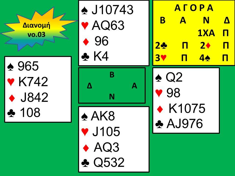 Β Δ Α Ν ♠ 965 ♥ K742  J842 ♣ 108 ♠ Q2 ♥ 98  K1075 ♣ AJ976 Διανομή νο.03 ♠ J10743 ♥ AQ63  96 ♣ K4 ♠ AK8 ♥ J105  AQ3 ♣ Q532 Α Γ Ο Ρ Α B Α Ν Δ 1XA Π 2 ♣ Π 2 ♦ Π 3 ♥ Π 4 ♠ Π