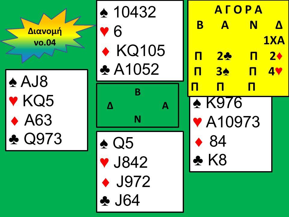 Β Δ Α Ν ♠ AJ8 ♥ KQ5  A63 ♣ Q973 ♠ K976 ♥ A10973  84 ♣ K8 Διανομή νο.04 ♠ 10432 ♥ 6  KQ105 ♣ A1052 ♠ Q5 ♥ J842  J972 ♣ J64 Α Γ Ο Ρ Α B Α Ν Δ 1XA Π 2 ♣ Π 2 ♦ Π 3 ♠ Π 4 ♥ Π Π Π