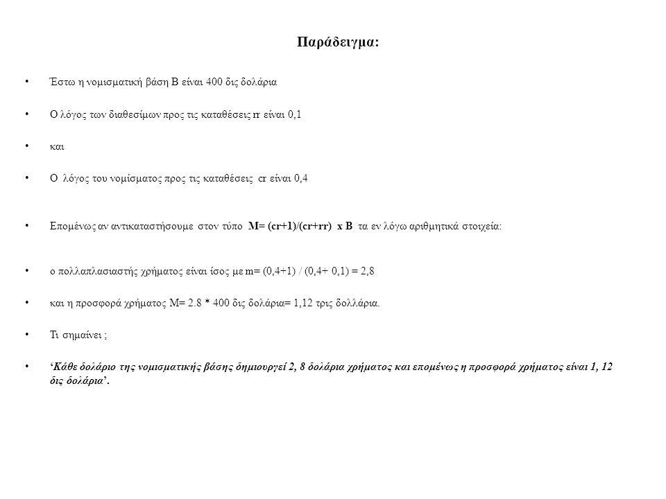 Παράδειγμα: Έστω η νομισματική βάση Β είναι 400 δις δολάρια Ο λόγος των διαθεσίμων προς τις καταθέσεις rr είναι 0,1 και O λόγος του νομίσματος προς τι