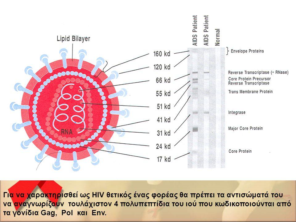Για να χαρακτηρισθεί ως HIV θετικός ένας φορέας θα πρέπει τα αντισώματά του να αναγνωρίζουν τουλάχιστον 4 πολυπεπτίδια του ιού που κωδικοποιούνται από τα γονίδια Gag, Pol και Env.