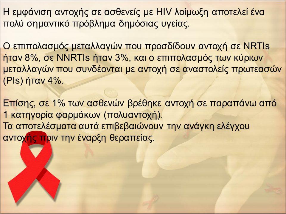 Η εμφάνιση αντοχής σε ασθενείς με HIV λοίμωξη αποτελεί ένα πολύ σημαντικό πρόβλημα δημόσιας υγείας.