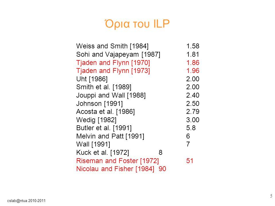 16 cslab@ntua 2010-2011 Παράλληλες αρχιτεκτονικές αγωγού Βαθμός παραλληλισμού μηχανήματος: ο μέγιστος αριθμός εντολών που μπορούν ταυτόχρονα να είναι σε εξέλιξη Σε ένα μια βαθμωτή αρχιτεκτονική ισούται με τον αριθμό σταδίων του pipeline (pipeline depth)