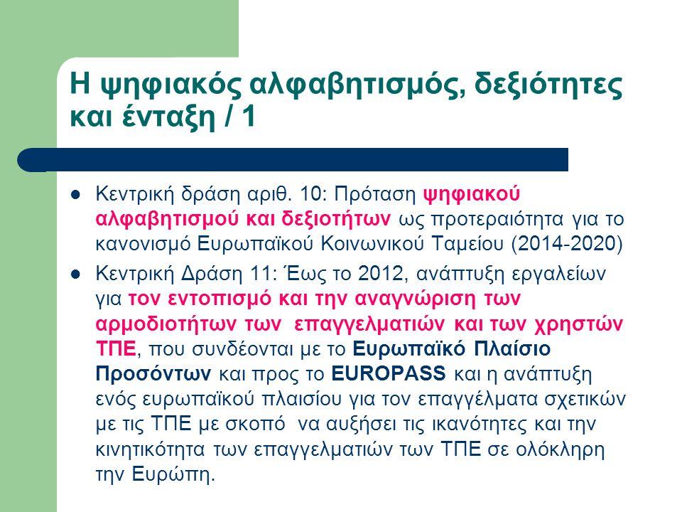 Η ψηφιακός αλφαβητισμός, δεξιότητες και ένταξη / 1 Κεντρική δράση αριθ. 10: Πρόταση ψηφιακού αλφαβητισμού και δεξιοτήτων ως προτεραιότητα για το κανον