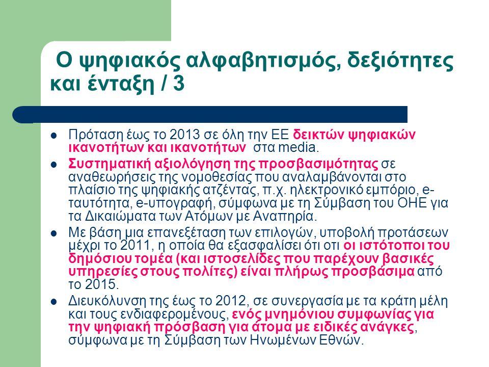 Ο ψηφιακός αλφαβητισμός, δεξιότητες και ένταξη / 3 Πρόταση έως το 2013 σε όλη την ΕΕ δεικτών ψηφιακών ικανοτήτων και ικανοτήτων στα media. Συστηματική