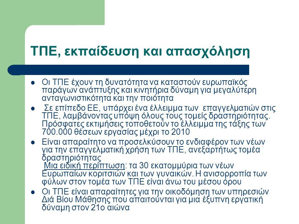ΤΠΕ, εκπαίδευση και απασχόληση Οι ΤΠΕ έχουν τη δυνατότητα να καταστούν ευρωπαϊκός παράγων ανάπτυξης και κινητήρια δύναμη για μεγαλύτερη ανταγωνιστικότητα και την ποιότητα Σε επίπεδο ΕΕ, υπάρχει ένα έλλειμμα των επαγγελματιών στις ΤΠΕ, λαμβάνοντας υπόψη όλους τους τομείς δραστηριότητας.
