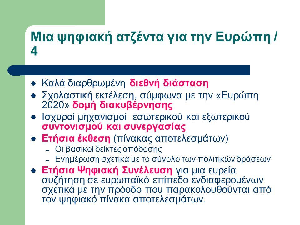 Μια ψηφιακή ατζέντα για την Ευρώπη / 4 Καλά διαρθρωμένη διεθνή διάσταση Σχολαστική εκτέλεση, σύμφωνα με την «Ευρώπη 2020» δομή διακυβέρνησης Ισχυροί μηχανισμοί εσωτερικού και εξωτερικού συντονισμού και συνεργασίας Ετήσια έκθεση (πίνακας αποτελεσμάτων) – Οι βασικοί δείκτες απόδοσης – Ενημέρωση σχετικά με το σύνολο των πολιτικών δράσεων Ετήσια Ψηφιακή Συνέλευση για μια ευρεία συζήτηση σε ευρωπαϊκό επίπεδο ενδιαφερομένων σχετικά με την πρόοδο που παρακολουθούνται από τον ψηφιακό πίνακα αποτελεσμάτων.