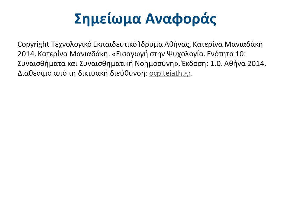 Σημείωμα Αναφοράς Copyright Τεχνολογικό Εκπαιδευτικό Ίδρυμα Αθήνας, Κατερίνα Μανιαδάκη 2014. Κατερίνα Μανιαδάκη. «Εισαγωγή στην Ψυχολογία. Ενότητα 10:
