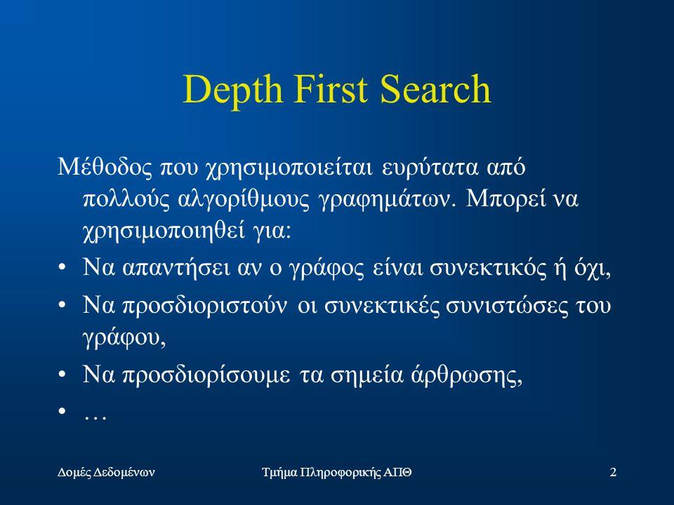 Δομές ΔεδομένωνΤμήμα Πληροφορικής ΑΠΘ2 Depth First Search Μέθοδος που χρησιμοποιείται ευρύτατα από πολλούς αλγορίθμους γραφημάτων.