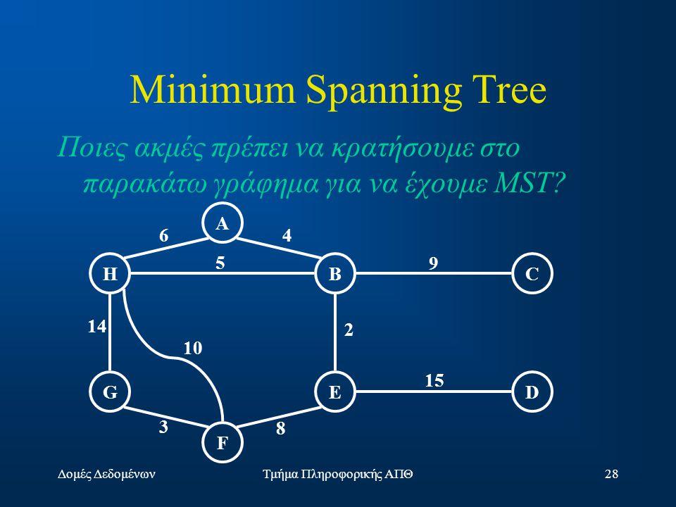 Δομές ΔεδομένωνΤμήμα Πληροφορικής ΑΠΘ28 Minimum Spanning Tree Ποιες ακμές πρέπει να κρατήσουμε στο παρακάτω γράφημα για να έχουμε MST.