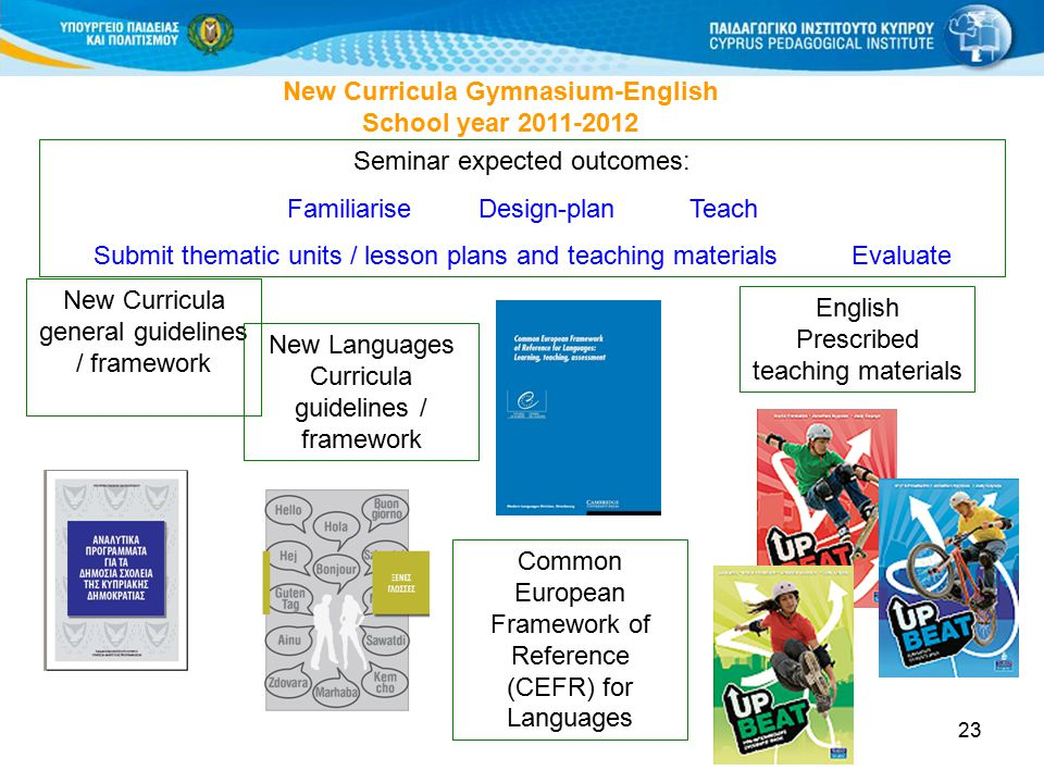 23 New Curricula Gymnasium-English School year 2011-2012 Seminar expected outcomes: Familiarise Design-plan Teach Submit thematic units / lesson plans and teaching materials Evaluate New Curricula general guidelines / framework New Languages Curricula guidelines / framework Common European Framework of Reference (CEFR) for Languages English Prescribed teaching materials