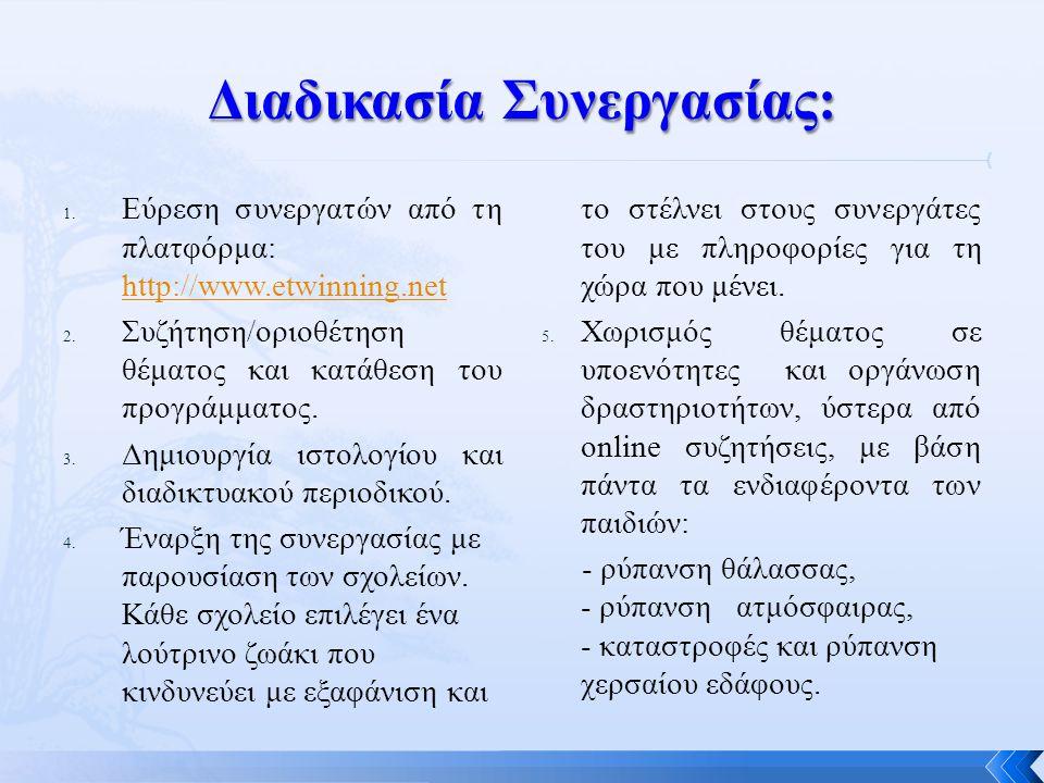 1. Εύρεση συνεργατών από τη πλατφόρμα: http://www.etwinning.net http://www.etwinning.net 2. Συζήτηση/οριοθέτηση θέματος και κατάθεση του προγράμματος.