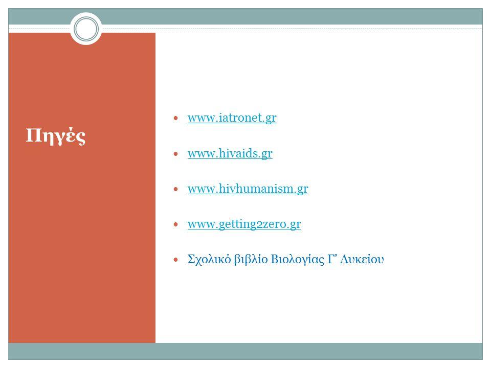 Πηγές www.iatronet.gr www.hivaids.gr www.hivhumanism.gr www.getting2zero.gr Σχολικό βιβλίο Βιολογίας Γ' Λυκείου