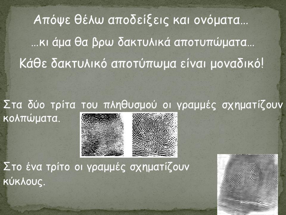 Απόψε θέλω αποδείξεις και ονόματα… Κάθε δακτυλικό αποτύπωμα είναι μοναδικό! Στα δύο τρίτα του πληθυσμού οι γραμμές σχηματίζουν κολπώματα. Στο ένα τρίτ