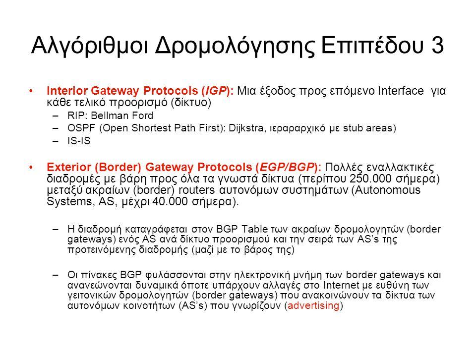 Αλγόριθμοι Δρομολόγησης Επιπέδου 3 Interior Gateway Protocols (IGP): Μια έξοδος προς επόμενο Interface για κάθε τελικό προορισμό (δίκτυο) –RIP: Bellma